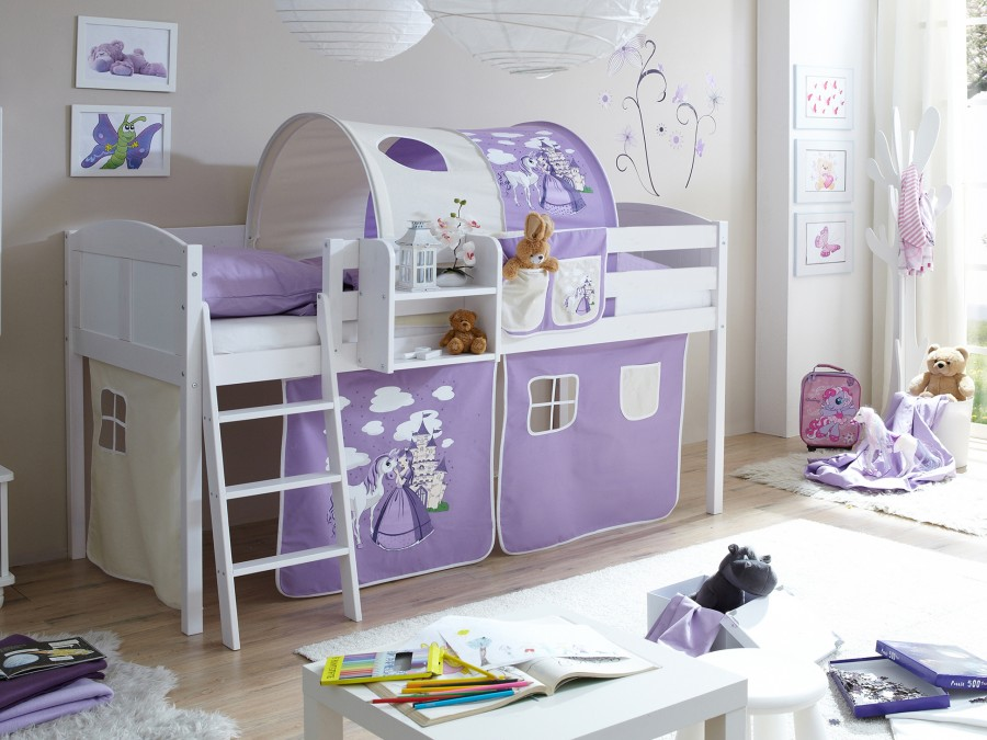 ticaa hochbett eric country kiefer massiv wei motiv kinder jugendzimmer hochbetten wei. Black Bedroom Furniture Sets. Home Design Ideas