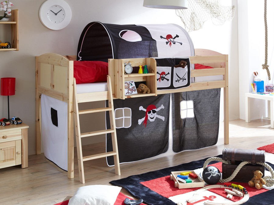 ticaa hochbett eric country kiefer massiv natur motiv kinder jugendzimmer hochbetten natur. Black Bedroom Furniture Sets. Home Design Ideas