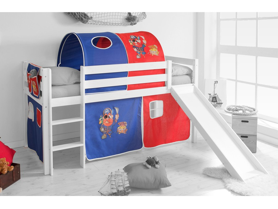 spielbett hochbett kinderbett kinder bett mit rutsche jelle 90x200 cm vorhang ebay. Black Bedroom Furniture Sets. Home Design Ideas