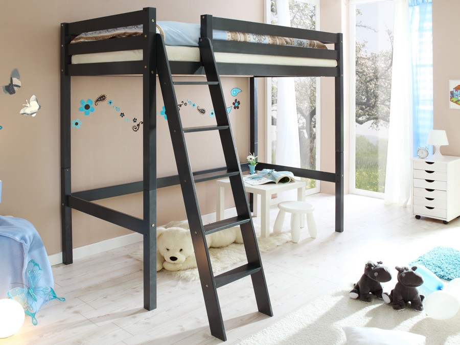 ticaa hochbett matthias mit schr gleiter grau kinder jugendzimmer hochbetten farbig lackiert. Black Bedroom Furniture Sets. Home Design Ideas
