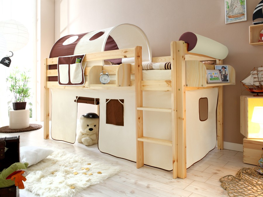 ticaa hochbett malte kiefer massiv natur classic kinder jugendzimmer hochbetten natur lackiert. Black Bedroom Furniture Sets. Home Design Ideas