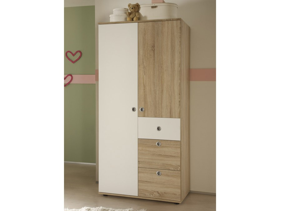 kleiderschrank 2 t rig milu sonoma wei babyzimmer komplett sets milu. Black Bedroom Furniture Sets. Home Design Ideas