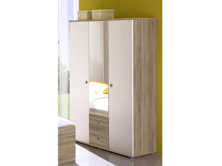 kleiderschrank 3 t rig vicky sonoma wei kinder jugendzimmer komplett sets vicky. Black Bedroom Furniture Sets. Home Design Ideas