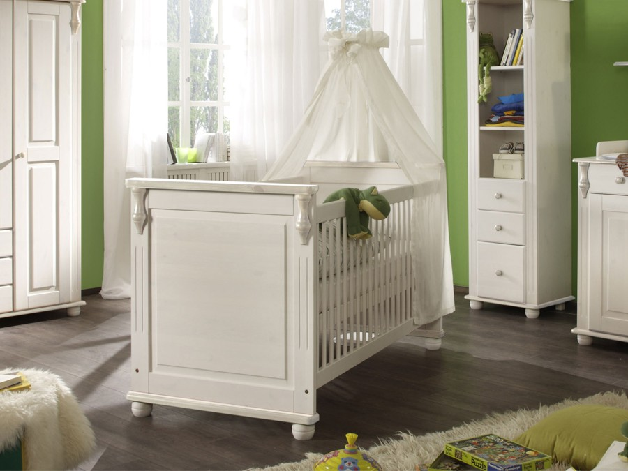 babybett lara ii kiefer massiv wei babyzimmer komplett. Black Bedroom Furniture Sets. Home Design Ideas