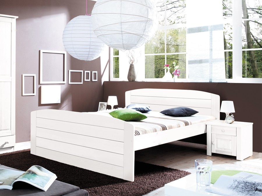senioren doppelbett jana kiefer massiv weiss. Black Bedroom Furniture Sets. Home Design Ideas